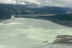 Glacial Lake With Icebergs in Kluane National Park, Yukon. A glacial lake with small icebergs as seen from the air in Kluane National Park, Yukon Territory stock images