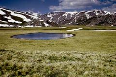 Glacial lake in Macedonia. Glacial lake in the Mavrovo region, Macedonia royalty free stock photos