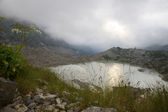 Glacial lake and moraines Royalty Free Stock Image