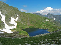 Glacial lake on a mountain Royalty Free Stock Images