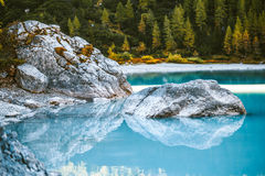 Glacial lake in the mountain Royalty Free Stock Photo