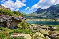 Glacial lake in Siberian mountains. Nature Park Ergaki. Krasnoyarsk region. Russia stock image