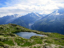 Glacial lake in summer near Chamonix, French Alps Royalty Free Stock Photography