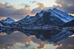 Glacial lake. During sunset. Caucasus, southern slope of elbrus royalty free stock photos