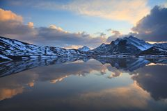 Glacial lake. During sunset. Caucasus, southern slope of elbrus royalty free stock images