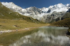 Glacial lake in Swiss Alps Royalty Free Stock Image