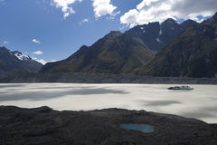 Glacial lake on Tasman Glacier. In New Zealand Royalty Free Stock Image