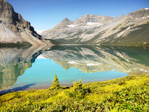 Glacial Lakes, Canadian Rockies, Alberta. Glacial Bow Lake in Banff National Park, Alberta, Canadian Rockies, Canada royalty free stock photo