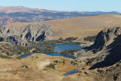 Glacial Lakes. Lakes formed from moving glaciers thousands of years ago. They continue to be fed by annual snow melts. This is taken along the Beartooth Highway stock images
