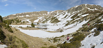 Glacial landscape of the Madriu-Perafita-Claror valley. The upper part of the Vall-de-Madriu-Perafita-Claror is an exposed glacial landscape with steep cliffs royalty free stock images