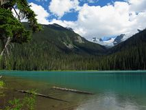 Glacial Lower Joffre Lake, Joffre Lakes Provincial Park, British Columbia. The glacial Lower Joffre Lake is nestled in the Coast Mountains between Pemberton and stock photo