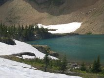 Glacial Melt Pond. This picture of the melt pond attached to Iceberg Lake was taken in Glacier National Park Stock Image