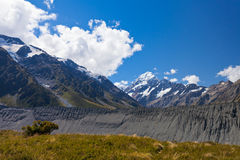 Glacial moraine Aoraki Mt Cook valley NZ stock photography