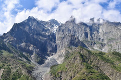 Glacial peaks of Himalayas visible from Leh Manali highway leading to Rohtang La Royalty Free Stock Photo
