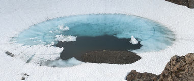 Glacial pool. Beautiful panoramic of deep blue glacial pool surrounded by white snow on Bear Mountain in Alaska stock photo