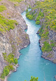 Glacial River going through a Mountain gorge Stock Photo