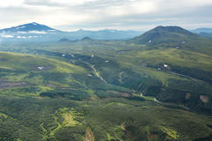 Glacial river between the hills. South Kamchatka Nature Park. Stock Image
