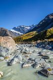 Glacial river in Hooker Valley Track, Mount Cook, New Zealand. Glacial river, Hooker Valley Track, Mount Cook, New Zealand Royalty Free Stock Photos