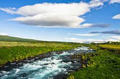 Glacial river near Gullfoss waterfall Royalty Free Stock Photos