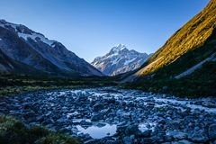 Glacial river at sunset, Mount Cook, New Zealand. Glacial river at sunset, Aoraki Mount Cook, New Zealand Royalty Free Stock Photography
