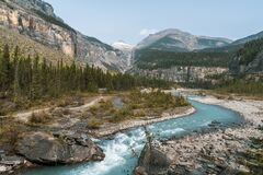 Glacial turquoise river in a moutains