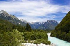 Glacial valley. (Soca valley Slovenia royalty free stock photo