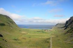 Glacial valley of Unstad. The glacial valley of Unstad in Lofoten islands royalty free stock photo