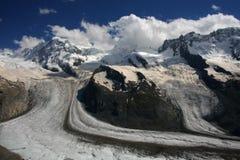 Glaciar bajo Monte Rosa Foto de archivo