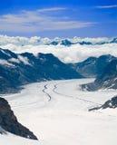 Glaciar de Aletsch en las montan@as, Suiza Fotos de archivo