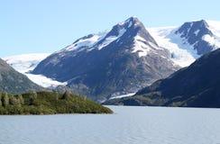 Glaciar de Byron y lago Portage Foto de archivo