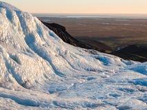 Glaciar de Falljokull en la puesta del sol Imagen de archivo libre de regalías
