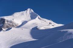 Glaciar de Hintertux en el sunet Foto de archivo libre de regalías