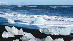 Glaciar de los azules claros del océano almacen de metraje de vídeo