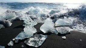 Glaciar de los azules claros del oc?ano almacen de video