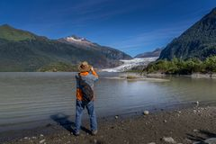 Glaciar de Mendenhall en Juneau Alaska imagenes de archivo