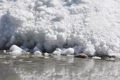 Glaciar en el borde del lago Imagen de archivo libre de regalías