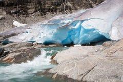 Glaciar en verano, Noruega de Nigardsbreen Fotos de archivo