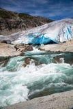 Glaciar en verano, Noruega de Nigardsbreen Foto de archivo libre de regalías