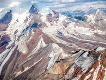 Glaciar en Wrangell - St Elias National Park, Alaska, vista del aire Fotos de archivo