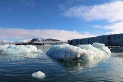 Glaciar que entra en el océano Foto de archivo libre de regalías