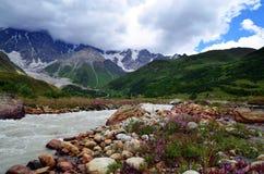 Glaciar Shkhara Foto de archivo libre de regalías