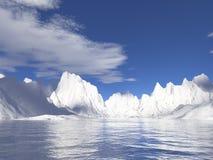Glaciares de Alaska con la reflexión del agua Foto de archivo libre de regalías