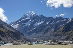 Hooker glacier and lake below Mount Cook Aoraki, New Zealand. Glaciated landscape of New Zealand`s Southern Alps.  Snow and glacier-capped Aoraki Mount Cook Royalty Free Stock Image