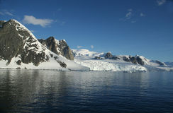 Glaciated mountains and icefal Stock Photo