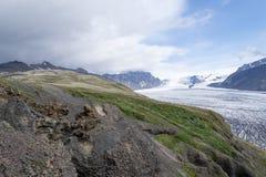 Glacie uno di Skaftafellsjokull del più impresive dell'Islanda Fotografie Stock Libere da Diritti