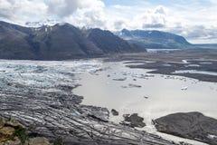 Glacie uno di Skaftafellsjokull del più impresive dell'Islanda Fotografia Stock