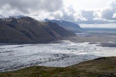 Glacie uno di Skaftafellsjokull del più impresive dell'Islanda Immagini Stock Libere da Diritti