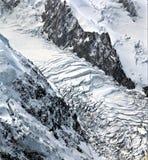 Glacier à la gamme de montagne de Mont Blanc à Chamonix, France Photo libre de droits