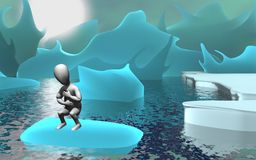 Glacier. 3d render of cartoon character with glacier Royalty Free Stock Image