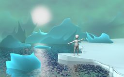 Glacier. 3d render of cartoon character with glacier Stock Image